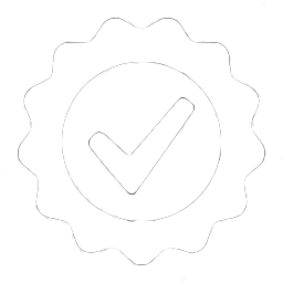 White tick in white round seal icon for step 3 of explainer video process